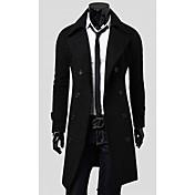 Langdeng capa ocasional de moda Double-Breasted (Negro)