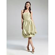 vestido de bola sin tirantes longitud de la rodilla tafetán vestido de dama de honor con drapeado por lan ting novia ®