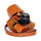 dengpin® la piel aceite de la caja de cuero protectora de la cámara con la correa de hombro para Olympus OM-D E-M10 con lente 14-42mm