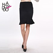 haoduoyi® Women's Graceful Slim Fitted Over Hip Ruffle Hem Pencil Skirt