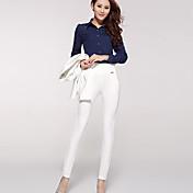 Medio - Elástico - Ajustado - Pantalones de las mujeres (Licra/Poliéster)