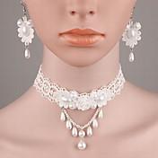 Mujer Juego de Joyas Moda joyería de disfraz Perla Perla Artificial Tela de Encaje Resina Legierung Collares Pendientes Para Boda Casual