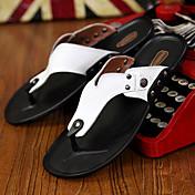 Hombre-Tacón Plano-Confort-Zapatillas y flip-flop-Exterior Informal-Cuero-