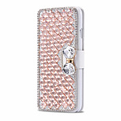 For iPhone 5 etui Kortholder Rhinsten Med stativ Flip Etui Heldækkende Etui Glitterskin Hårdt Kunstlæder for AppleiPhone 7 Plus iPhone 7