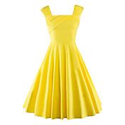 Mujer Línea A Vestido Noche Vintage,Un Color Escote Cuadrado Hasta la Rodilla Sin Mangas Algodón Poliéster Verano Tiro Medio Rígido