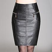 De las mujeres Faldas-Sobre la rodilla Sexy / Simple Microelástico-Poliuretano