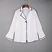 Mujer Simple Casual/Diario Otoño Camisa,Cuello Camisero Un Color Manga Larga Algodón Blanco / Negro Medio