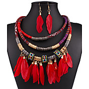 Juego de Joyas Collar / pendientes Sexy Moda Europeo Negro Rojo Azul Collares Pendientes Para Boda Fiesta Diario Casual 1 SetRegalos de