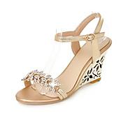 Mujer-Tacón Cuña-Zapatos del club-Sandalias-Boda Oficina y Trabajo Vestido-PU-Plata Oro