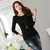 nuevo coreano salvaje delgado de tocar fondo sólido suéter de lana negro suéter delgado camiseta