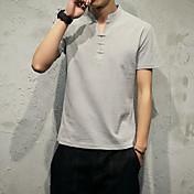 sólido de color v-cuello de la camiseta delgada masculina camisa corta modelo japonés