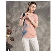 El verano de bambú nuevo golpe literario de impresión en color cuello redondo manga corta camiseta femenina 8520220090