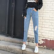 Signo lugar modelos calientes afluencia salvaje de las mujeres coreanas usan agujero blanco era delgada jeans de nueve puntos