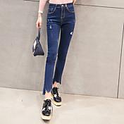 サイン春新しいハイウエストのジーンズは、女子生徒は薄いスリムペンシルパンツカジュアル不規則な穴でした