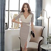 vestido de la raya nueva tendencia de la moda coreana delgada costura atractiva 2015 del verano parte larga de la hembra