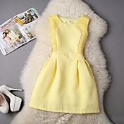 Mujer Línea A Vestido Noche Casual/Diario Vintage Simple,Un Color Escote Redondo Sobre la rodilla Sin Mangas Algodón Verano Tiro Alto