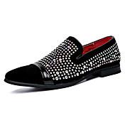 Hombre Zapatos Cuero Primavera Otoño Mocasín Zapatos de taco bajo y Slip-On Paseo Purpurina Para Boda Casual Fiesta y Noche Negro