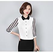 Mujer Simple Casual/Diario Camisa,Cuello Camisero Un Color 3/4 Manga Poliéster Fino