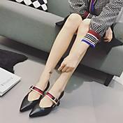 MujerSuelas con luz-Zapatos de taco bajo y Slip-Ons-Informal-PU-Negro Almendra