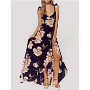 Feminino Evasê Bainha Vestido,Festa Para Noite Casual Vintage Fofo Moda de Rua Sólido Floral Com Alças Acima do Joelho Sem MangaSeda