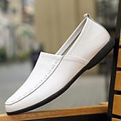 Hombre Zapatos PU Primavera Otoño Confort Zapatos de taco bajo y Slip-On Para Casual Blanco Negro Amarillo Marrón