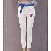 Mujer Chic de Calle Tiro Medio Microelástico Vaqueros Pantalones,Delgado Un Color