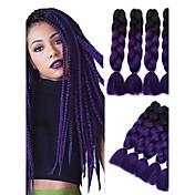 """Jumbo Box Trenzas Ombre Trenzar el cabello Kanekalon Negro / púrpura Extensiones de cabello 24 """" Las trenzas de pelo"""