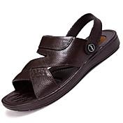 Hombre Sandalias Confort Cuero Verano Exterior Paseo Tacón Plano Negro Marrón Menos de 2'5 cms