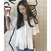 Mujer Simple Bonito Casual/Diario Primavera Verano Camisa,Escote Barco Un Color 1/2 Manga Otro Fino