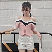 Mujer Simple Casual/Diario Camiseta,Escote Barco Bloques 1/2 Manga Rayón