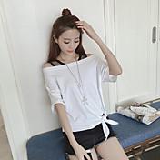 Mujer Simple Casual/Diario Verano Camiseta,Escote Barco Un Color Manga Corta Otro Medio