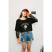 Mujer Bonito Noche Vacaciones Camiseta,Escote Redondo Un Color Estampado Animal Letra Manga Larga Algodón Medio