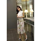 Mujer Formal Diseño Diario Casual Primavera Verano Blusa Pantalón Trajes,Escote Chino Un Color Floral Estampado Sin MangasMalla Estilo