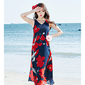 Mujer Camiseta Vestido Floral Escote en Pico Maxi Sin Mangas Poliéster Verano Tiro Medio Rígido Fino