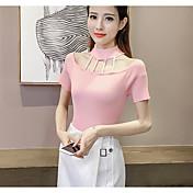 Mujer Regular Pullover Casual/Diario Simple,Un Color Escote Redondo Manga Corta Algodón Otro Primavera Medio Elástico