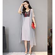 Mujer Corte Ancho Vestido Casual/Diario Un Color Escote Cuadrado Asimétrico Manga Corta Lino Verano Tiro Medio Rígido Fino