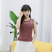 Mujer Vintage Simple Casual/Diario Tank Tops,Escote Redondo Un Color Sin Mangas Poliéster