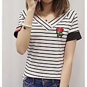 Mujer Simple Casual/Diario Camiseta,Escote en Pico Un Color A Rayas Manga Corta Algodón