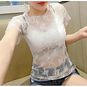 Mujer Simple Casual/Diario Camiseta,Escote Redondo Un Color Estampado Manga Corta Lino Poliéster