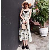 Mujer Vaina Vestido Noche Casual/Diario Estampado Con Tirantes Midi Sin Mangas Poliéster Verano Tiro Medio Microelástico Fino