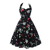 Mujer Línea A Vaina Vestido Noche Casual/Diario Sexy Bonito,Un Color Floral Escote en Pico Sobre la rodilla Sin Mangas Algodón Acrílico