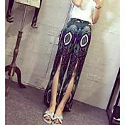 Mujer Playa Asimétrico Faldas,Columpio Verano Bloque de Color