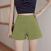 Mujer Sencillo Tiro Medio Microelástico Shorts Pantalones,Corte Ancho Un Color