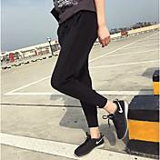 Mujer Sencillo Tiro Medio Microelástico Ajustado Chinos Pantalones,Pantalones Harén Un Color Retazos