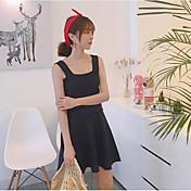 Mujer Simple Casual/Diario Verano T-Shirt Falda Trajes,Escote Cuadrado Un Color Sin Mangas
