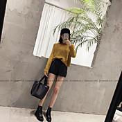 Mujer Adorable Sencillo Tiro Medio Microelástico Shorts Pantalones,Corte Ancho Un Color