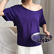 Mujer Simple Casual/Diario Camiseta,Escote Barco Un Color Media Manga Algodón