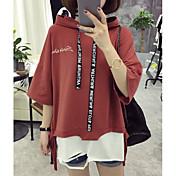 Mujer Simple Casual/Diario Camiseta,Con Capucha Letra Media Manga Algodón