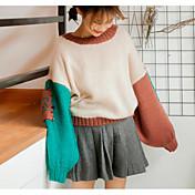 Mujer Regular Pullover Casual/Diario Bloques Escote Redondo Manga Larga Algodón Primavera Medio Microelástico