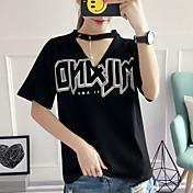 Mujer Punk & Gótico Casual/Diario Verano Camiseta,Escote en Pico Estampado Manga Corta Algodón Medio